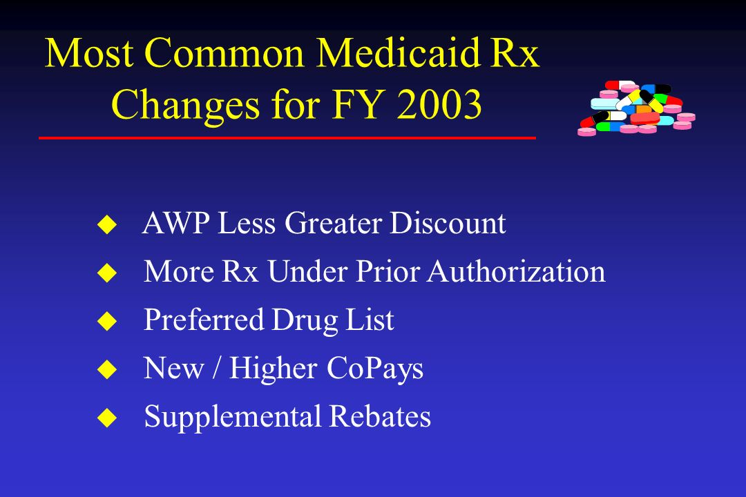 Most Common Medicaid Rx Changes for FY 2003 u AWP Less Greater Discount u More Rx Under Prior Authorization u Preferred Drug List u New / Higher CoPay