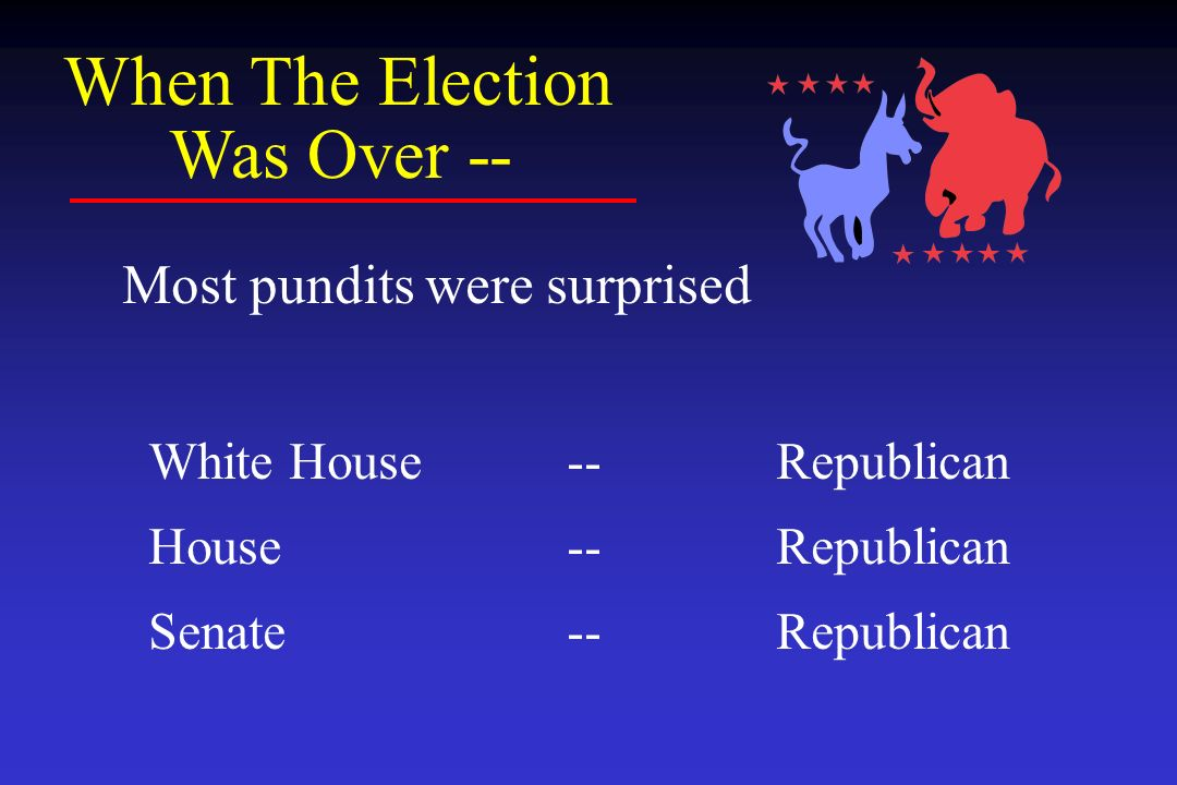 When The Election Was Over -- Most pundits were surprised White House--Republican House--Republican Senate--Republican