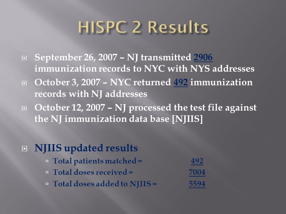 September 26, 2007 – NJ transmitted 2906 immunization records to NYC with NYS addresses October 3, 2007 – NYC returned 492 immunization records with N