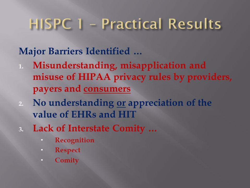 HISPC 2 HISPC 2: 7/1/07 – 12/31/2008 NJ-HISPC Implementation Plan ~ confront barriers 1.
