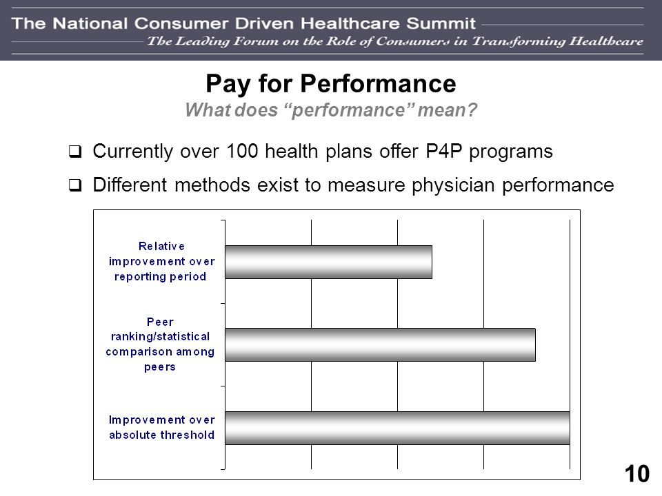 9 Pay for Performance (P4P) Why, and Why Now? Awareness of medication errors and patient safety Quality is not advancing rapidly enough Employer press