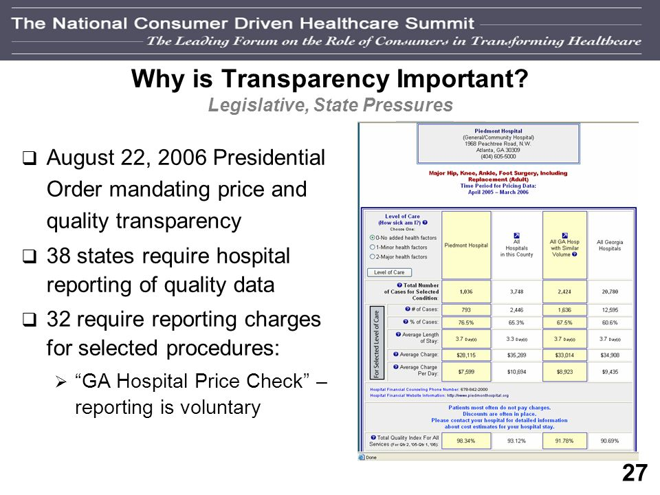26 Why is Transparency Important? Rise in out-of-pocket expenses Number of Employers offering CDH Plans Natl Average Out of Pocket Expenses & Employee