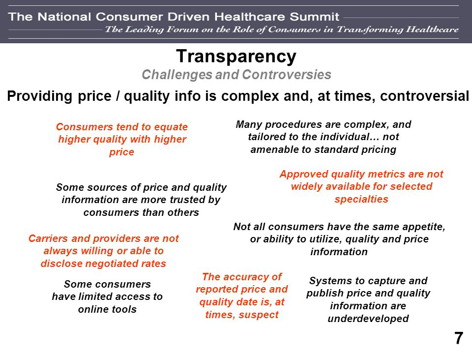 6 Transparency Continuum Payors are Driving Payors Providers Consumers Payor / Provider Transparency Quality evaluations P4P evaluations Claims payment policies Contract terms Patient data (PBHR) Payor / Consumer Transparency Price information Provider quality data Cost-comparison tools Clinical content Patient data (PHR) Provider / Consumer Transparency (Payors Facilitating)
