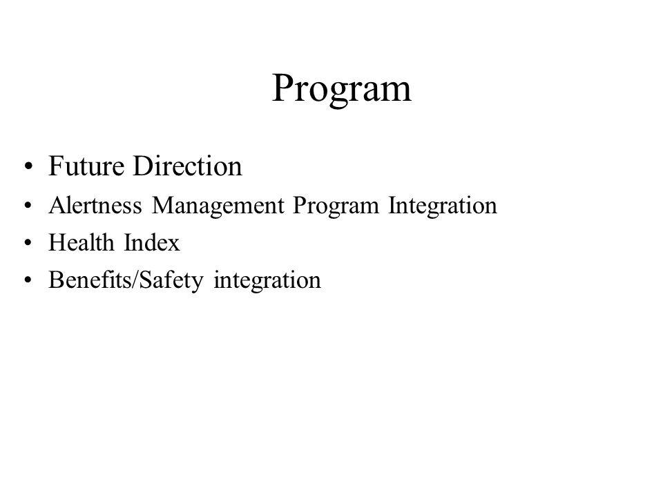 Program Future Direction Alertness Management Program Integration Health Index Benefits/Safety integration