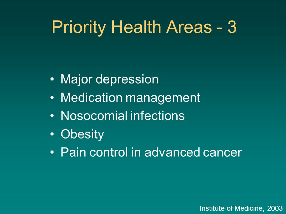 Major depression Medication management Nosocomial infections Obesity Pain control in advanced cancer Priority Health Areas - 3 Institute of Medicine,