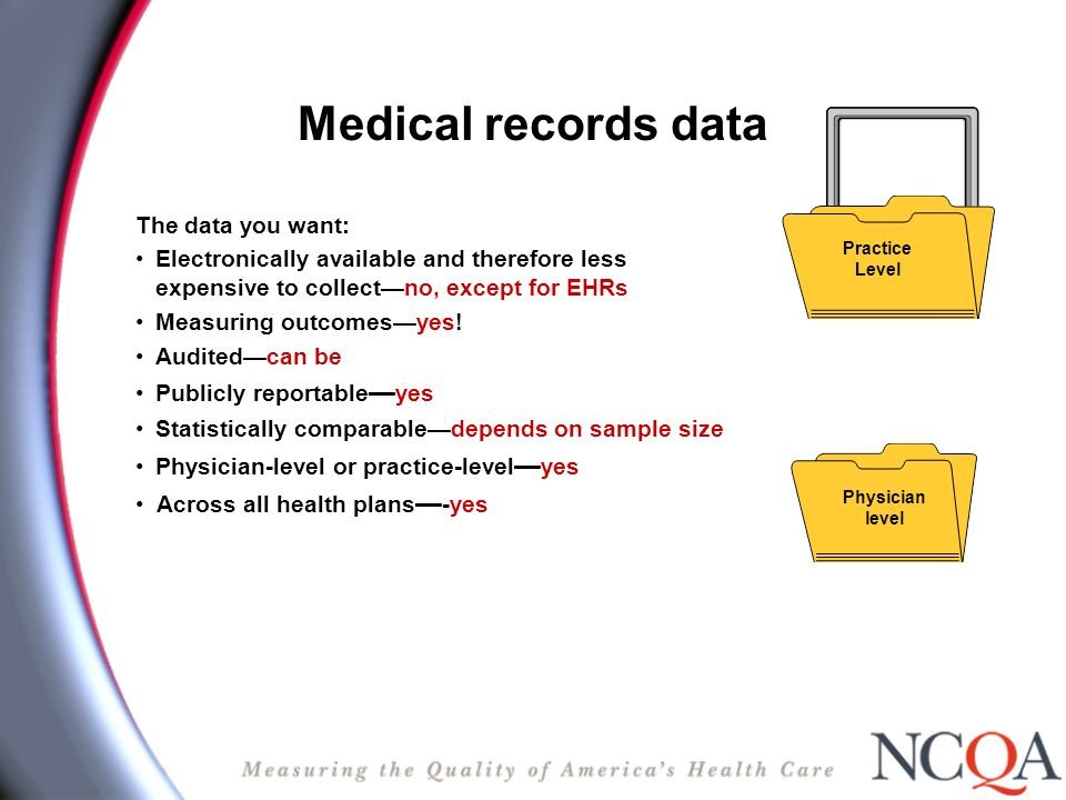 Medical records data The data you want: Electronically available and therefore less expensive to collectno, except for EHRs Measuring outcomesyes.