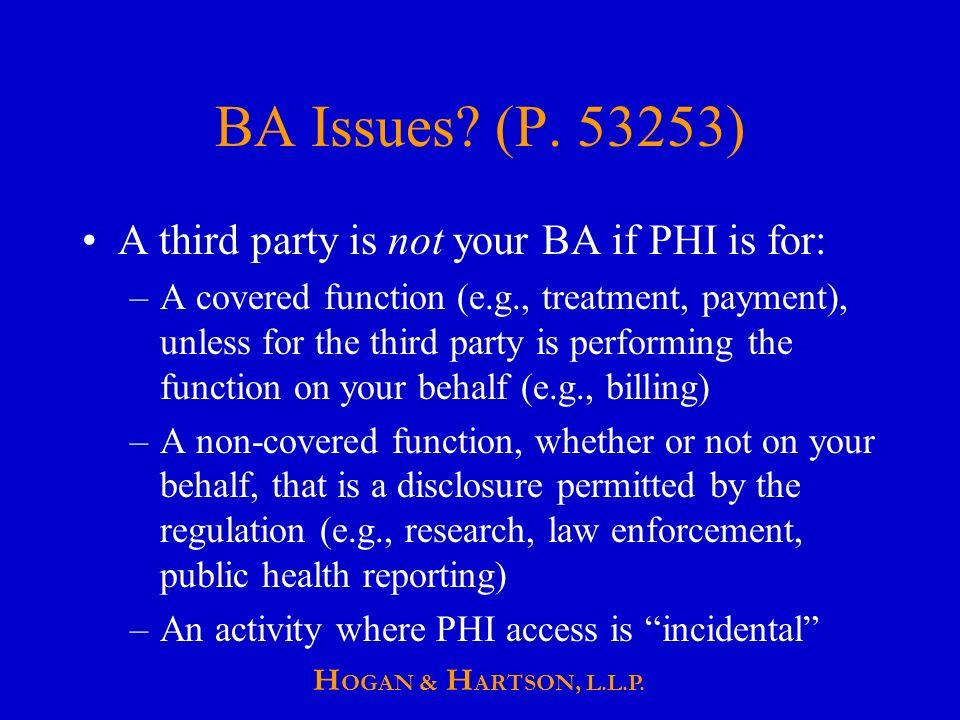 H OGAN & H ARTSON, L.L.P. BA Issues. (P.