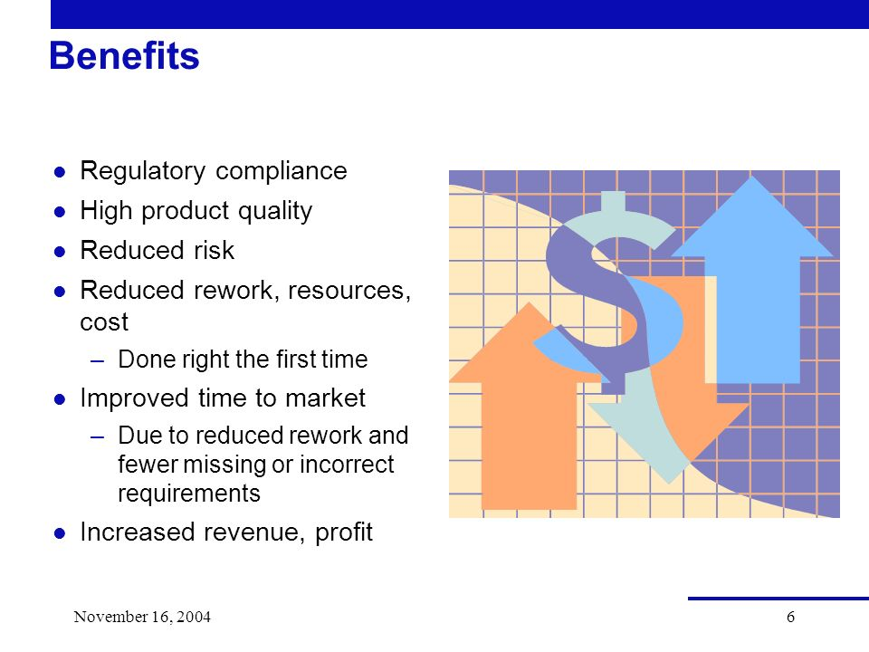 November 16, Benefits l Regulatory compliance l High product quality l Reduced risk l Reduced rework, resources, cost –Done right the first time l Improved time to market –Due to reduced rework and fewer missing or incorrect requirements l Increased revenue, profit