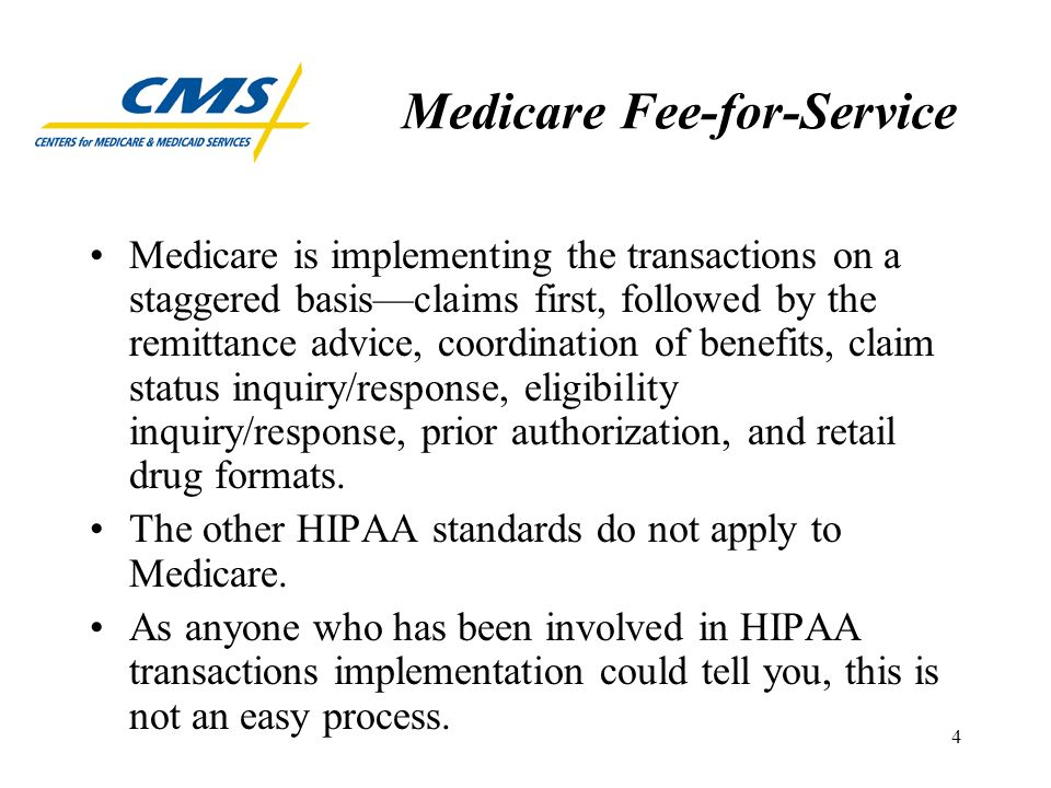 5 Medicare Fee-for-Service Just like many of you, we have had to work through confusion regarding the meaning of certain requirements and conditions specified in the implementation guides for the standards.