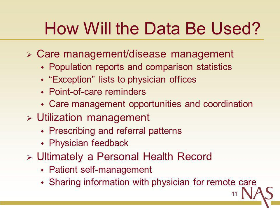 11 How Will the Data Be Used.