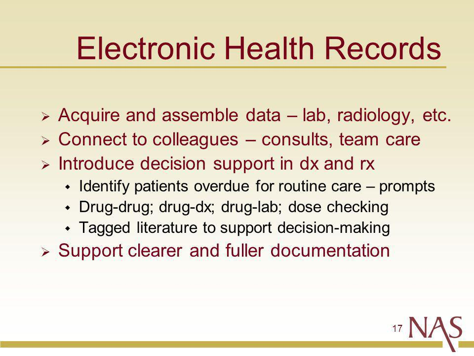 17 Electronic Health Records Acquire and assemble data – lab, radiology, etc.
