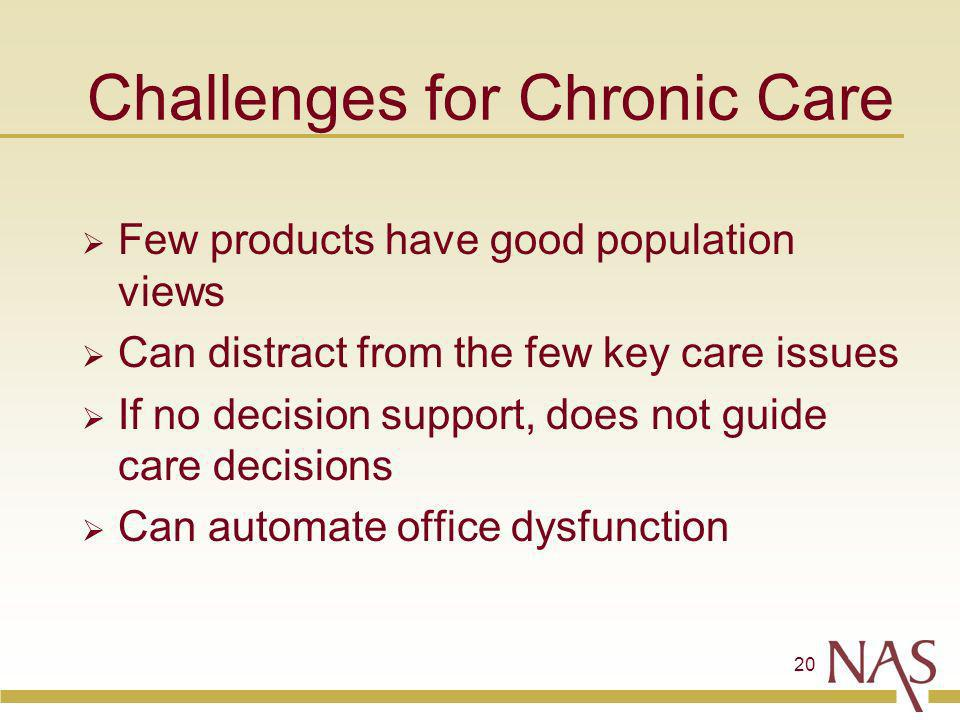 20 Challenges for Chronic Care Few products have good population views Can distract from the few key care issues If no decision support, does not guid