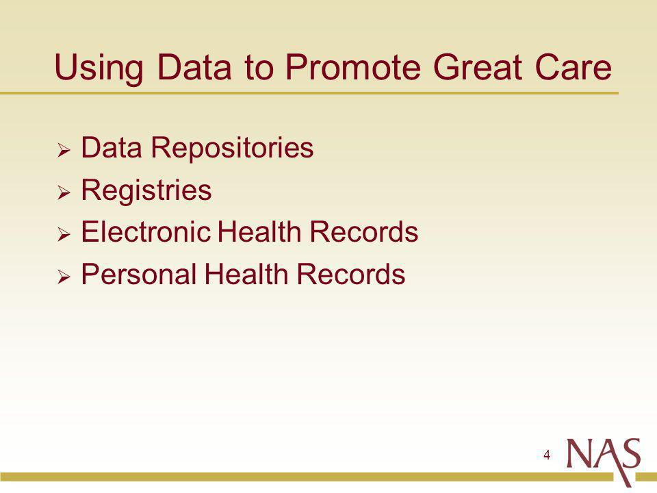 4 Using Data to Promote Great Care Data Repositories Registries Electronic Health Records Personal Health Records