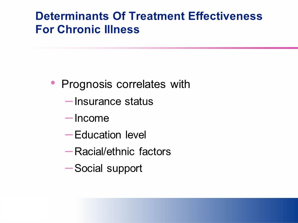 Determinants Of Treatment Effectiveness For Chronic Illness Prognosis correlates with – Insurance status – Income – Education level – Racial/ethnic factors – Social support