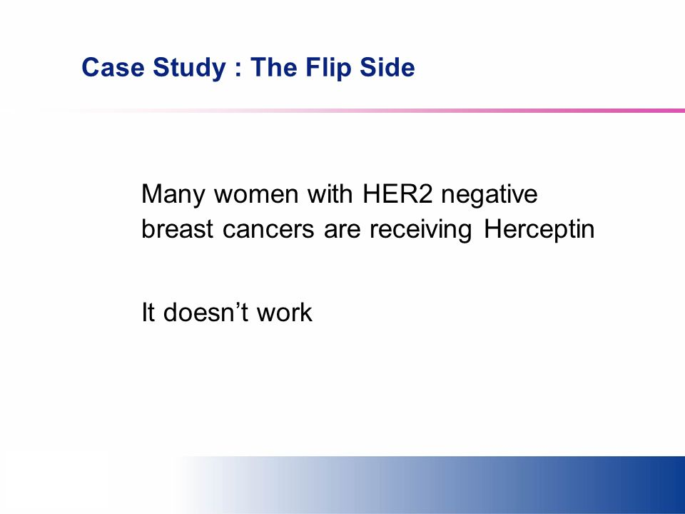 Case Study : The Flip Side Many women with HER2 negative breast cancers are receiving Herceptin It doesnt work