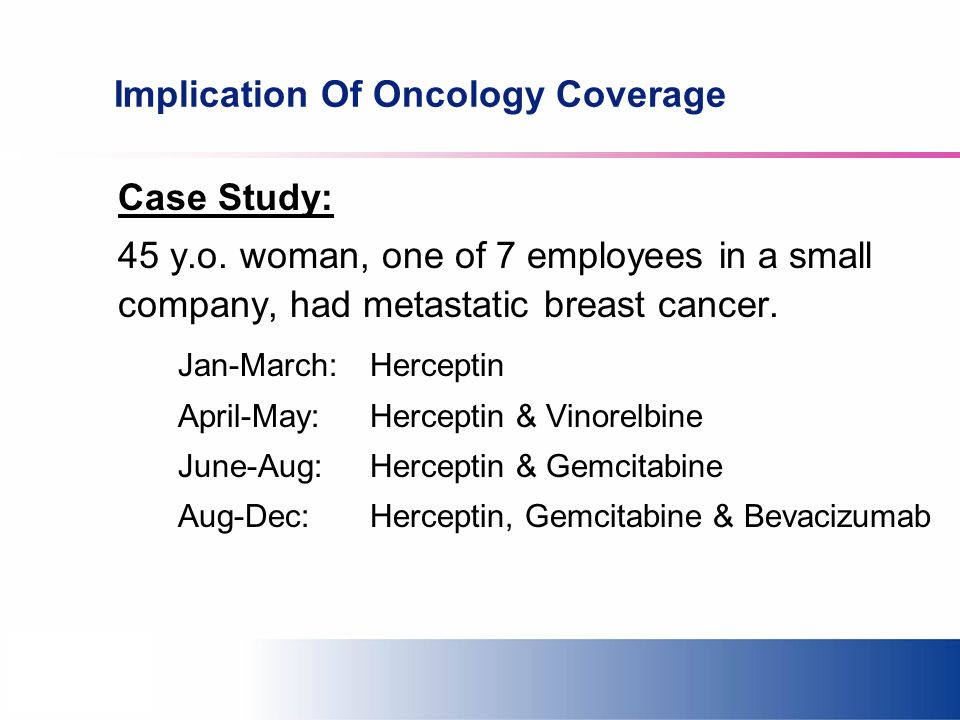 Implication Of Oncology Coverage Case Study: 45 y.o.