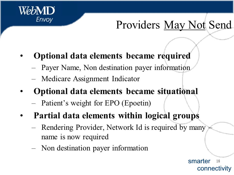 18 Providers May Not Send Optional data elements became required –Payer Name, Non destination payer information –Medicare Assignment Indicator Optiona
