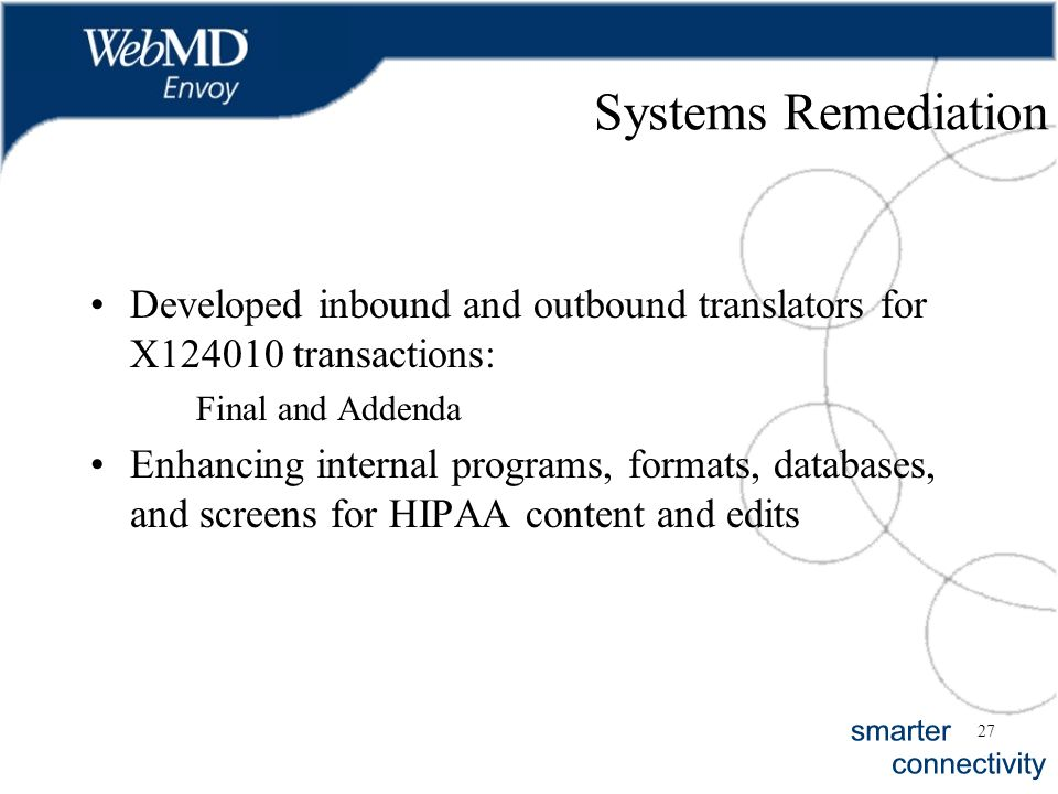 27 Systems Remediation Developed inbound and outbound translators for X124010 transactions: Final and Addenda Enhancing internal programs, formats, da
