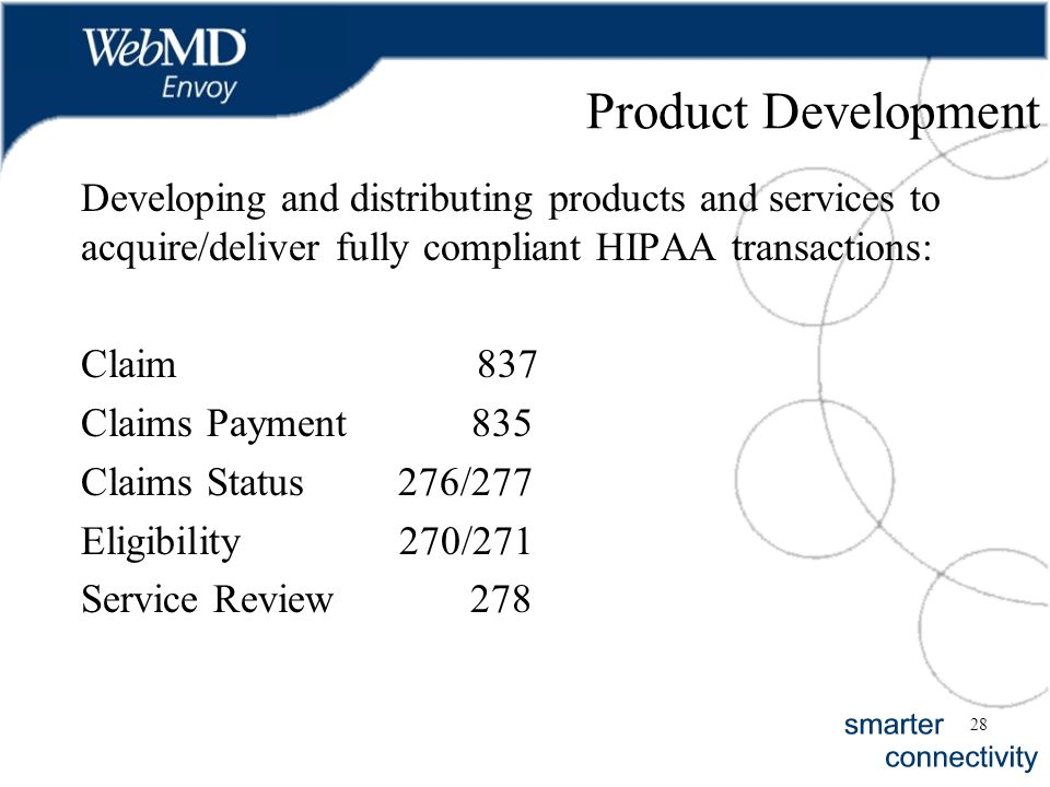 28 Product Development Developing and distributing products and services to acquire/deliver fully compliant HIPAA transactions: Claim 837 Claims Payme