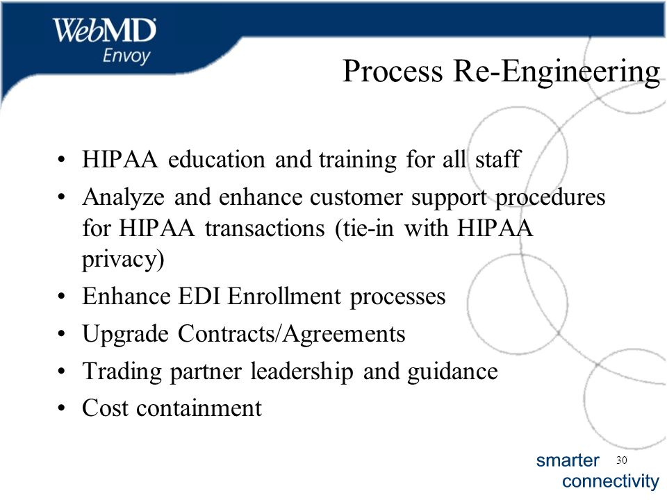 30 Process Re-Engineering HIPAA education and training for all staff Analyze and enhance customer support procedures for HIPAA transactions (tie-in wi