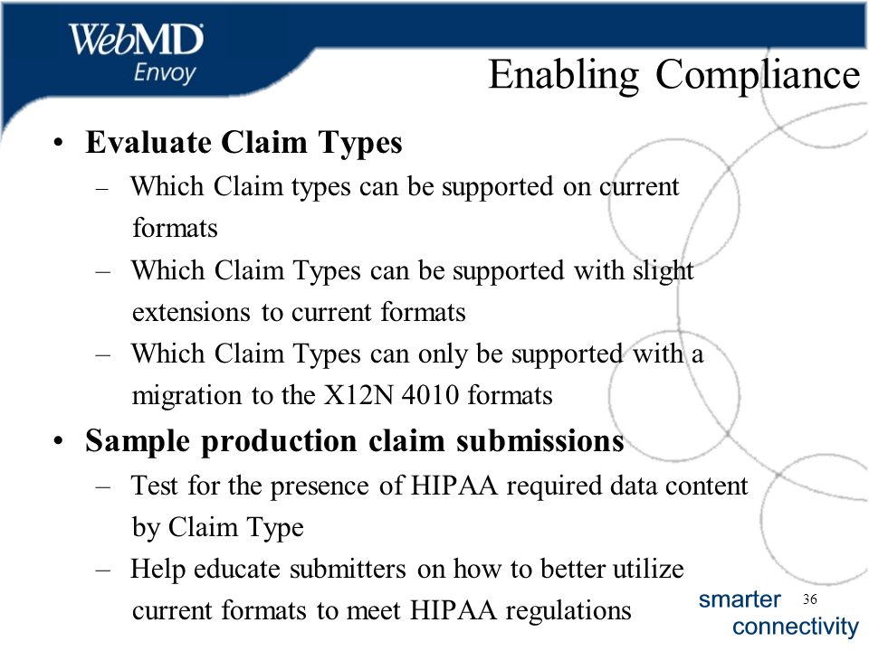 36 Enabling Compliance Evaluate Claim Types – Which Claim types can be supported on current formats – Which Claim Types can be supported with slight e