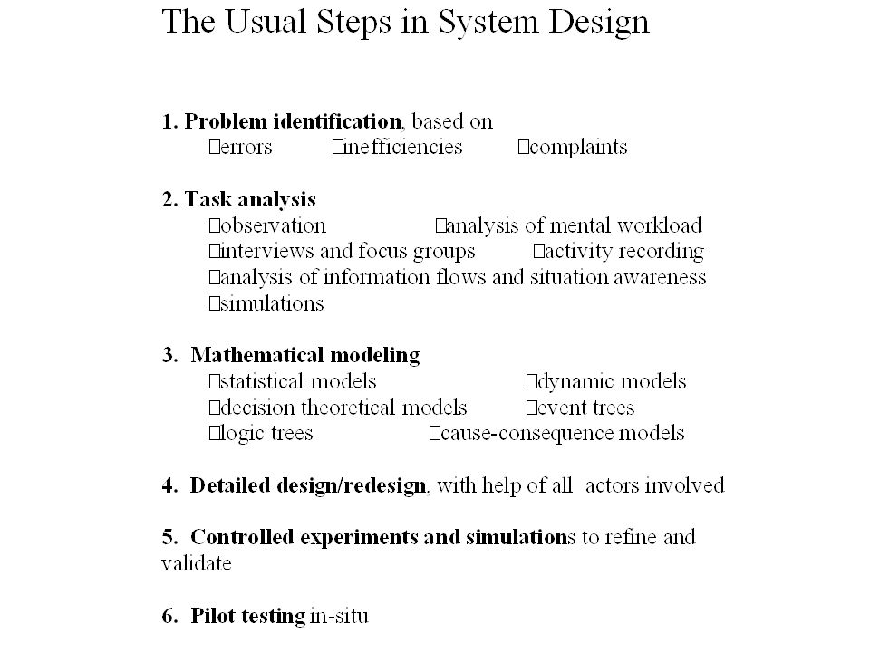 The usual steps of system design