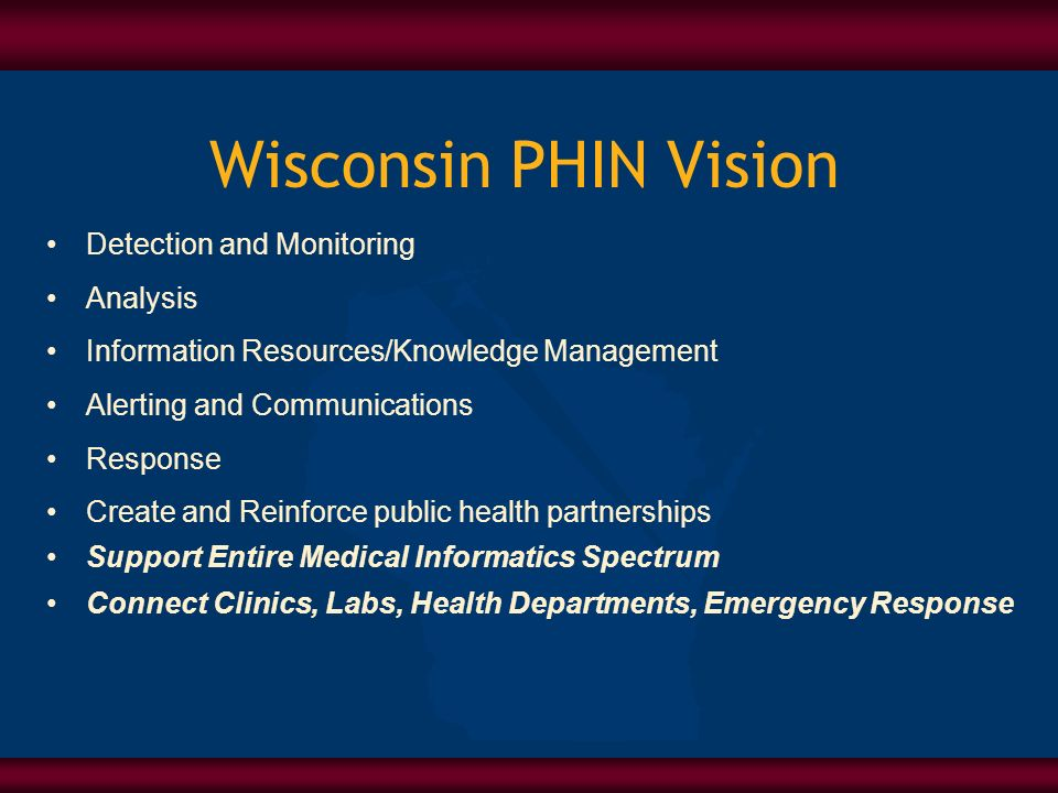 Wisconsin PHIN Vision Detection and Monitoring Analysis Information Resources/Knowledge Management Alerting and Communications Response Create and Rei