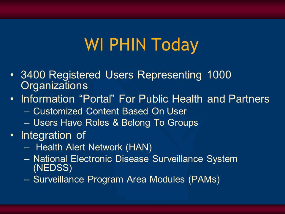 WI PHIN Today 3400 Registered Users Representing 1000 Organizations Information Portal For Public Health and Partners –Customized Content Based On User –Users Have Roles & Belong To Groups Integration of – Health Alert Network (HAN) –National Electronic Disease Surveillance System (NEDSS) –Surveillance Program Area Modules (PAMs)