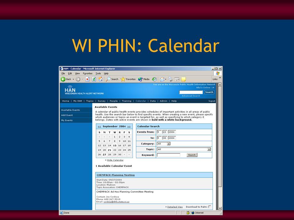 WI PHIN: Calendar
