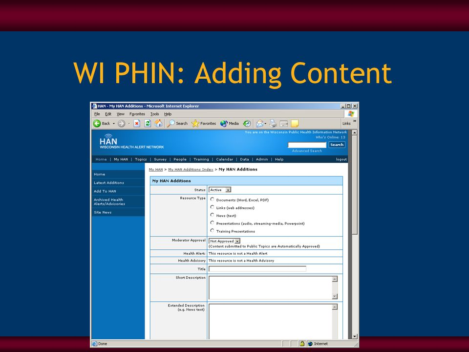 WI PHIN: Adding Content