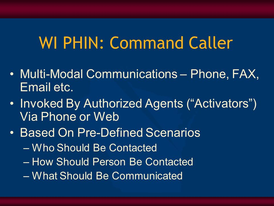 WI PHIN: Command Caller Multi-Modal Communications – Phone, FAX, Email etc.