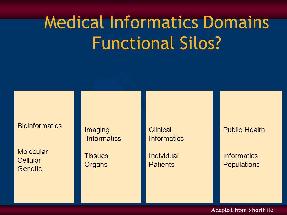 Medical Informatics Domains Functional Silos? Bioinformatics Molecular Cellular Genetic Imaging Informatics Tissues Organs Clinical Informatics Indivi