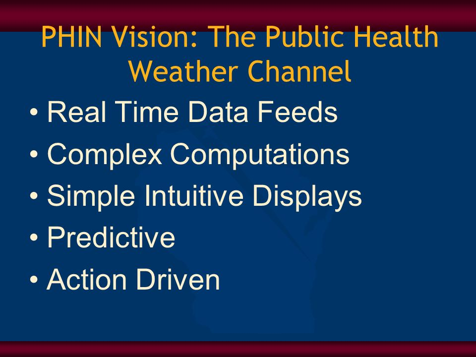 PHIN Vision: The Public Health Weather Channel Real Time Data Feeds Complex Computations Simple Intuitive Displays Predictive Action Driven