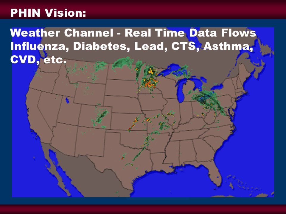 PHIN Vision: Weather Channel - Real Time Data Flows Influenza, Diabetes, Lead, CTS, Asthma, CVD, etc.