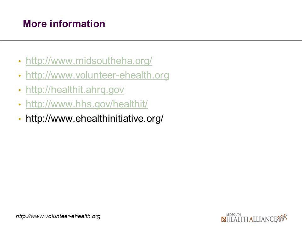 http://www.volunteer-ehealth.org More information http://www.midsoutheha.org/ http://www.volunteer-ehealth.org http://healthit.ahrq.gov http://www.hhs.gov/healthit/ http://www.ehealthinitiative.org/