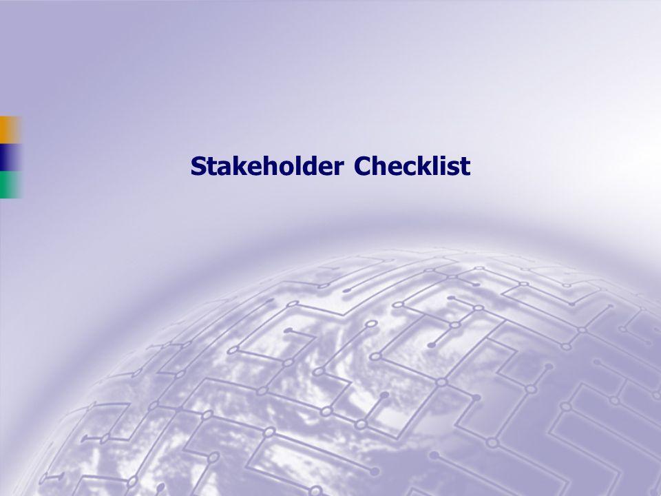 Stakeholder Checklist