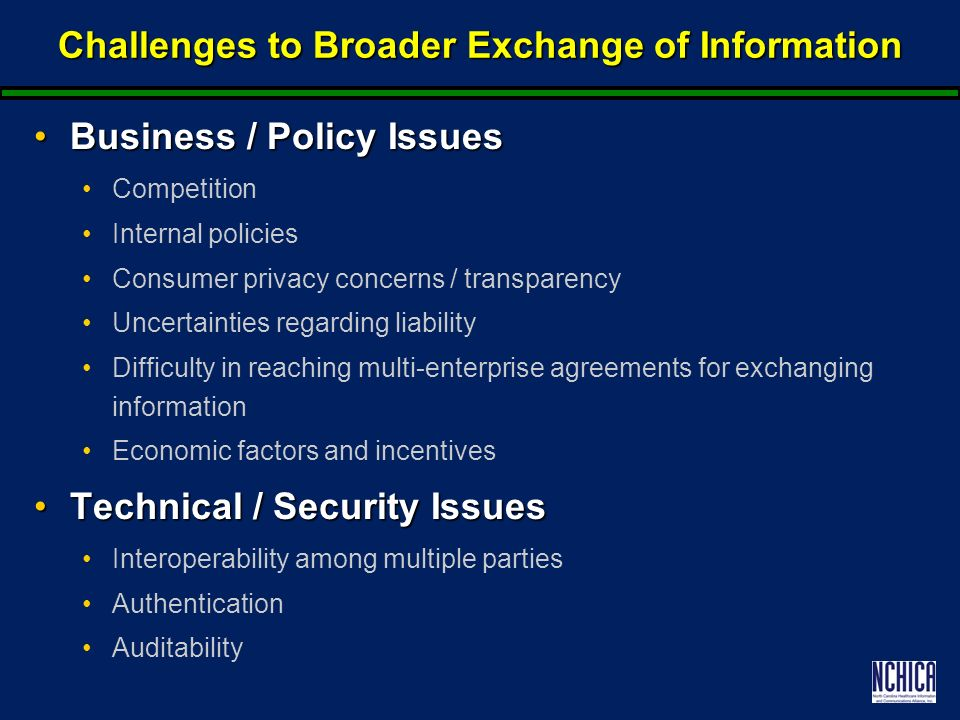 Challenges to Broader Exchange of Information Business / Policy IssuesBusiness / Policy Issues Competition Internal policies Consumer privacy concerns / transparency Uncertainties regarding liability Difficulty in reaching multi-enterprise agreements for exchanging information Economic factors and incentives Technical / Security IssuesTechnical / Security Issues Interoperability among multiple parties Authentication Auditability