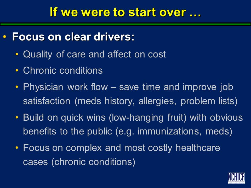 If we were to start over … Focus on clear drivers:Focus on clear drivers: Quality of care and affect on cost Chronic conditions Physician work flow – save time and improve job satisfaction (meds history, allergies, problem lists) Build on quick wins (low-hanging fruit) with obvious benefits to the public (e.g.