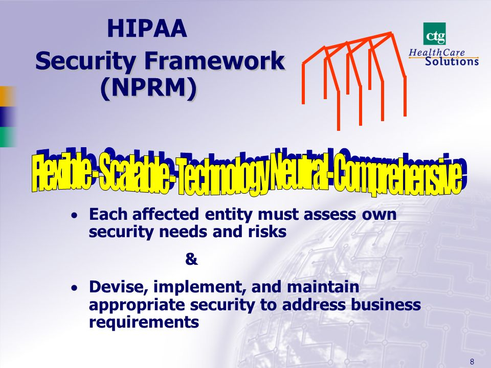 8 Security Framework (NPRM) Each affected entity must assess own security needs and risks & Devise, implement, and maintain appropriate security to ad