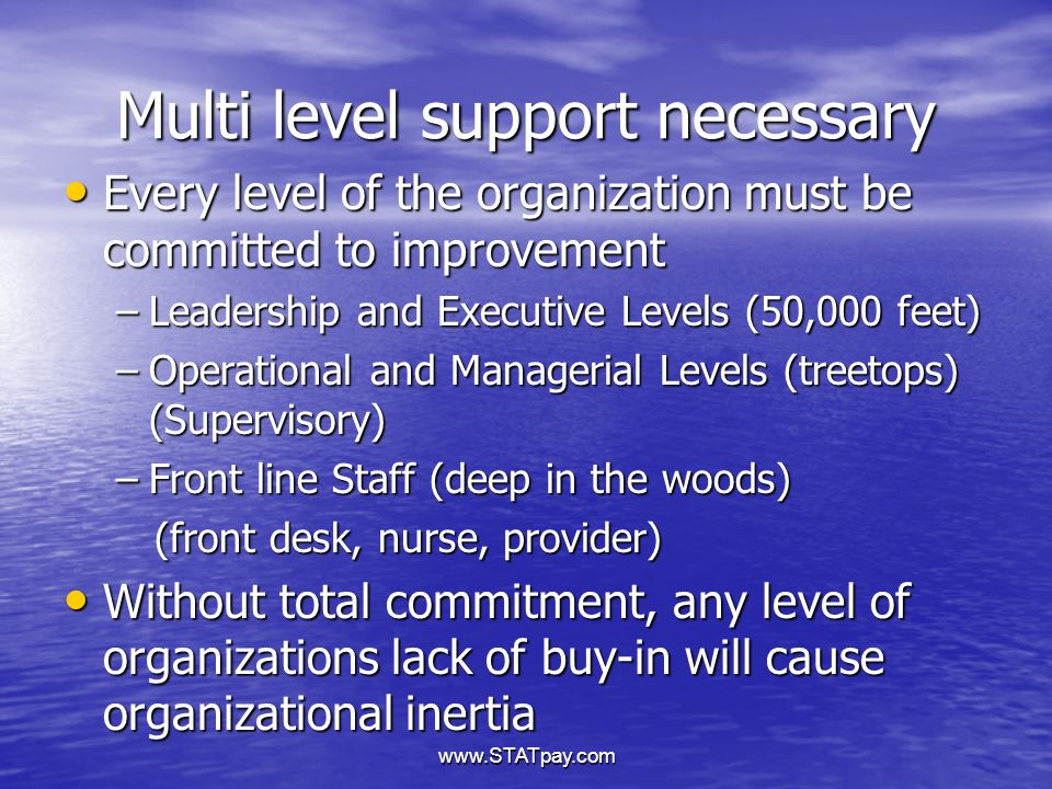 www.STATpay.com Multi level support necessary Every level of the organization must be committed to improvement Every level of the organization must be committed to improvement –Leadership and Executive Levels (50,000 feet) –Operational and Managerial Levels (treetops) (Supervisory) –Front line Staff (deep in the woods) (front desk, nurse, provider) (front desk, nurse, provider) Without total commitment, any level of organizations lack of buy-in will cause organizational inertia Without total commitment, any level of organizations lack of buy-in will cause organizational inertia