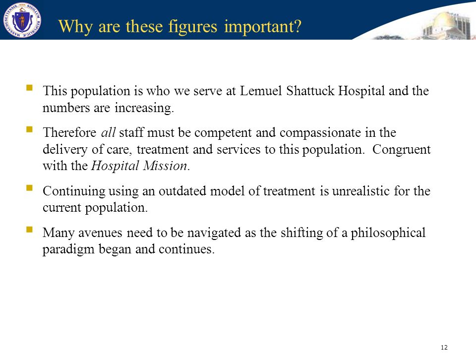 12 Why are these figures important? This population is who we serve at Lemuel Shattuck Hospital and the numbers are increasing. Therefore all staff mu