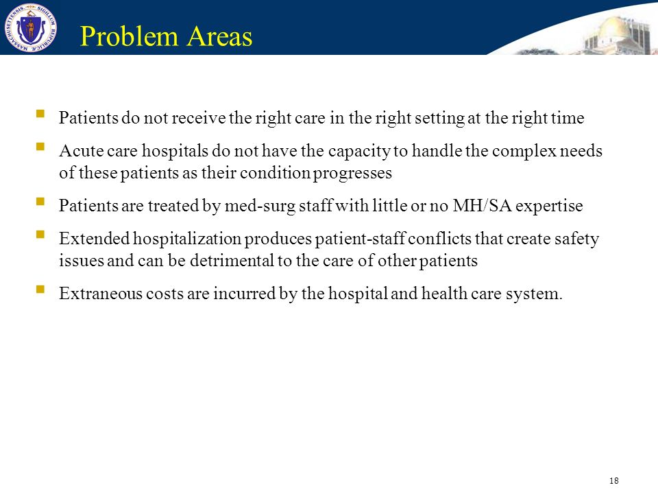 18 Problem Areas Patients do not receive the right care in the right setting at the right time Acute care hospitals do not have the capacity to handle