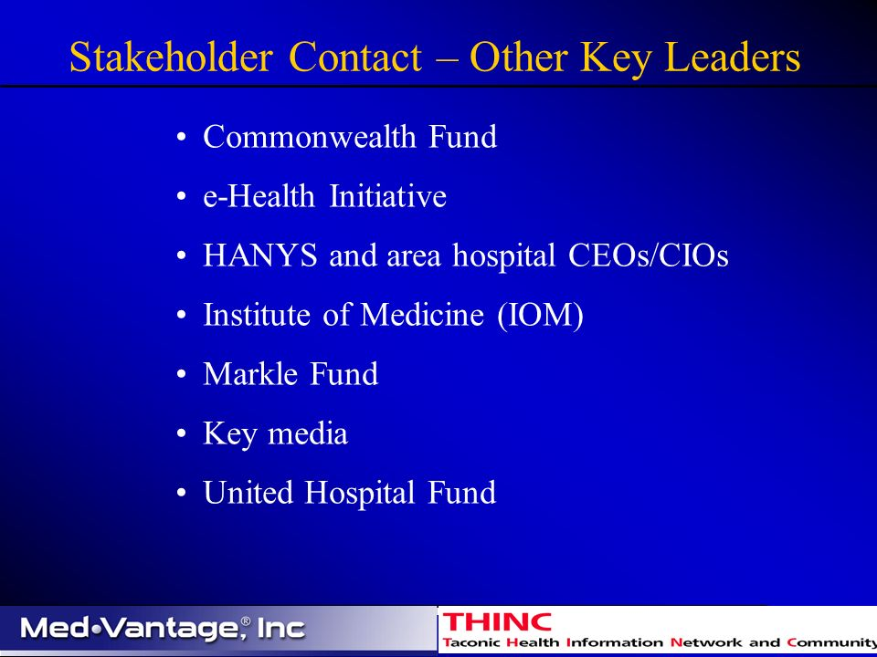 Stakeholder Contact – Other Key Leaders Commonwealth Fund e-Health Initiative HANYS and area hospital CEOs/CIOs Institute of Medicine (IOM) Markle Fund Key media United Hospital Fund