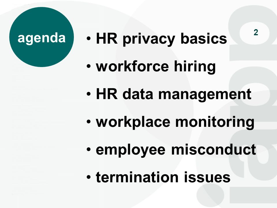 2 agenda HR privacy basics workforce hiring HR data management workplace monitoring employee misconduct termination issues