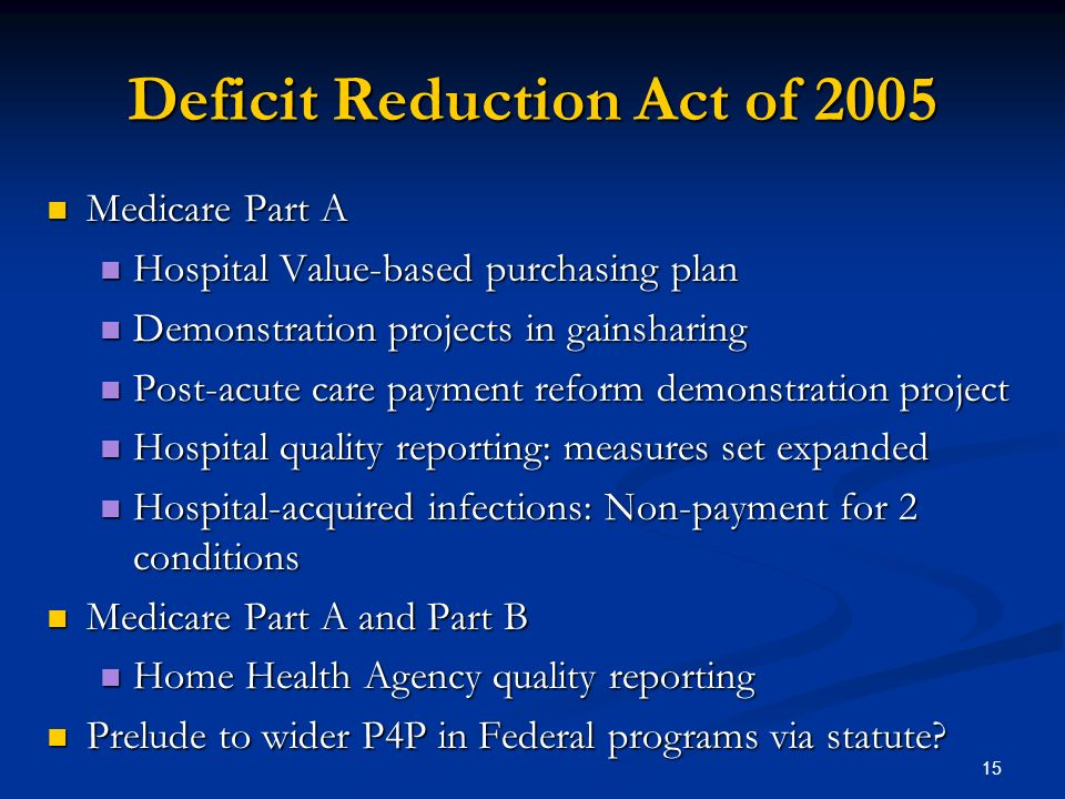 15 Deficit Reduction Act of 2005 Medicare Part A Medicare Part A Hospital Value-based purchasing plan Hospital Value-based purchasing plan Demonstration projects in gainsharing Demonstration projects in gainsharing Post-acute care payment reform demonstration project Post-acute care payment reform demonstration project Hospital quality reporting: measures set expanded Hospital quality reporting: measures set expanded Hospital-acquired infections: Non-payment for 2 conditions Hospital-acquired infections: Non-payment for 2 conditions Medicare Part A and Part B Medicare Part A and Part B Home Health Agency quality reporting Home Health Agency quality reporting Prelude to wider P4P in Federal programs via statute.