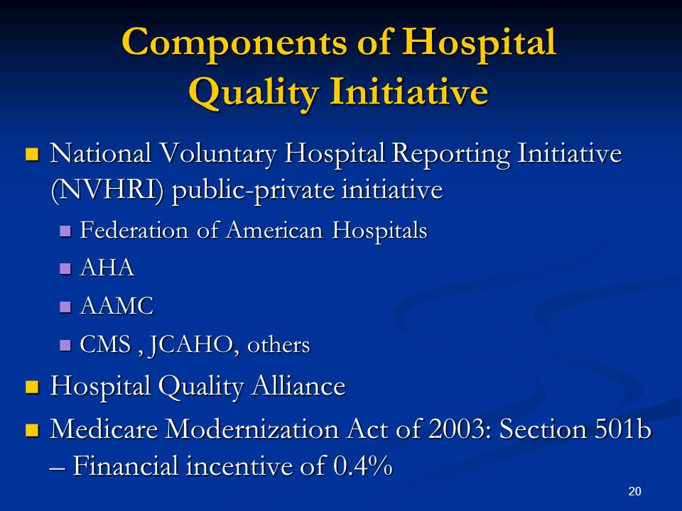 20 Components of Hospital Quality Initiative National Voluntary Hospital Reporting Initiative (NVHRI) public-private initiative National Voluntary Hos