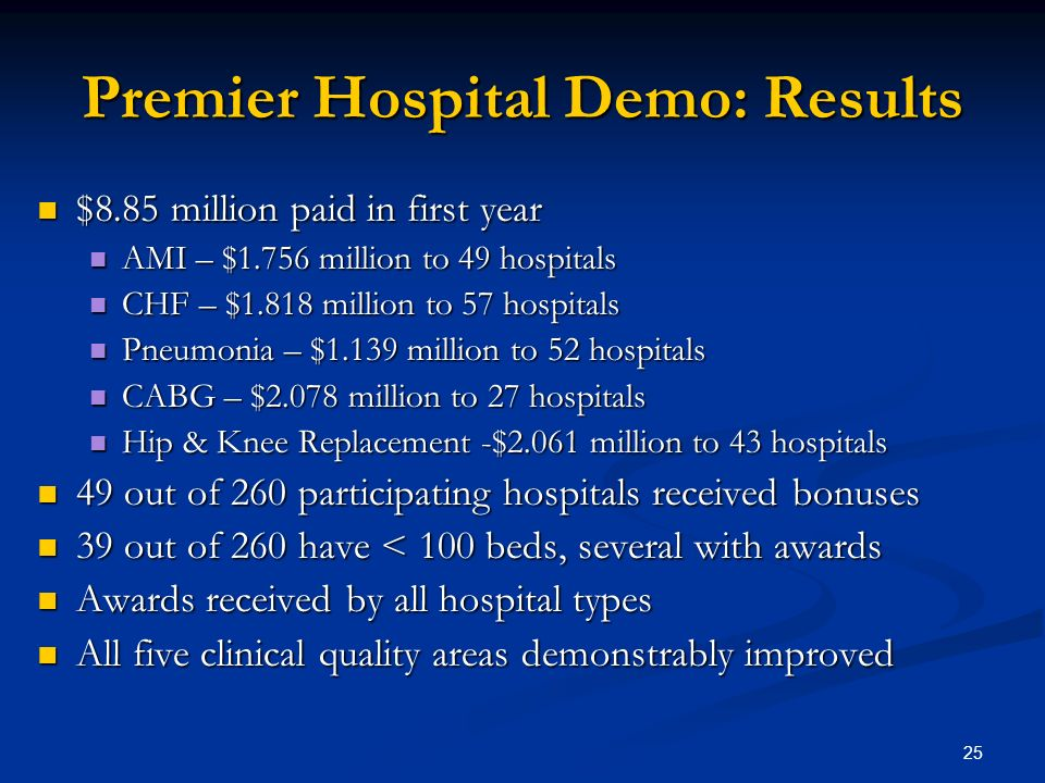 25 Premier Hospital Demo: Results $8.85 million paid in first year $8.85 million paid in first year AMI – $1.756 million to 49 hospitals AMI – $1.756