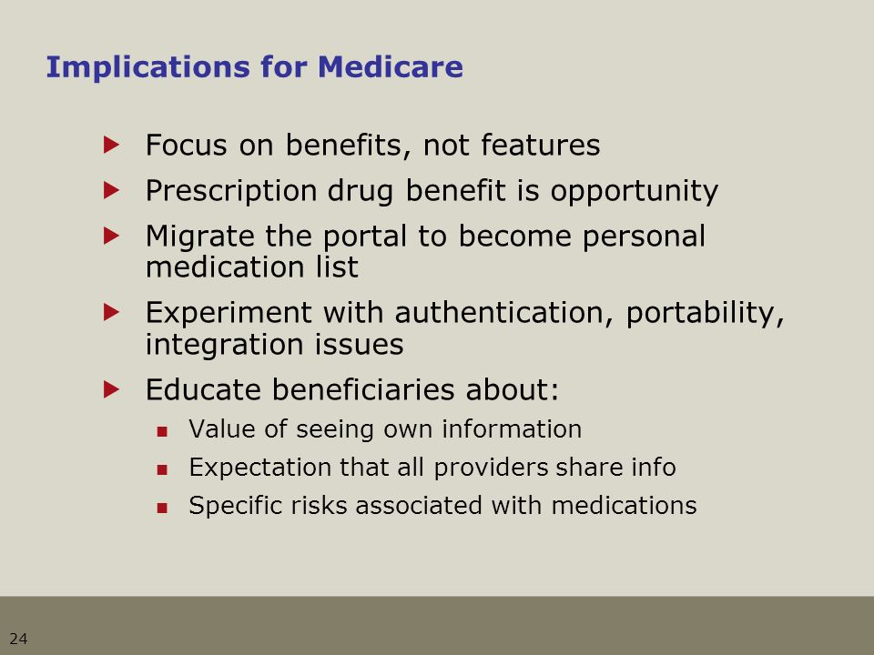 24 Implications for Medicare Focus on benefits, not features Prescription drug benefit is opportunity Migrate the portal to become personal medication