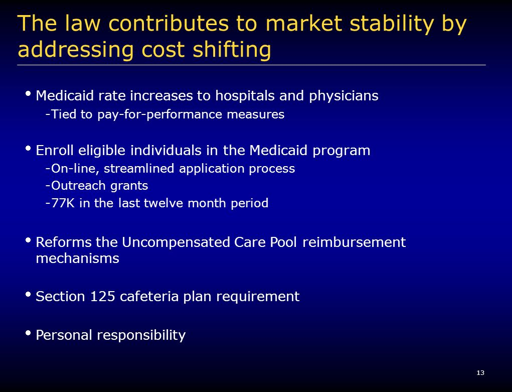 13 The law contributes to market stability by addressing cost shifting Medicaid rate increases to hospitals and physicians -Tied to pay-for-performanc