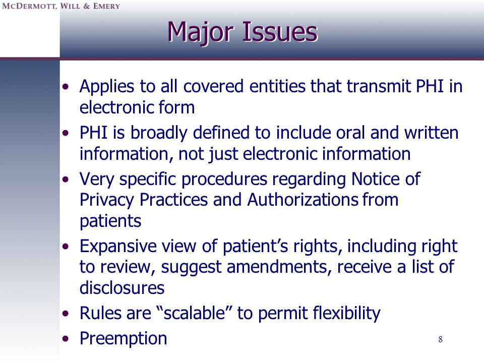 19 General Rules for Optional Patient Consents Obtaining consent before using or disclosing the patients PHI for TPO is now optional A Covered Entity which chooses to use written consent has complete discretion in determining the process Consent v.